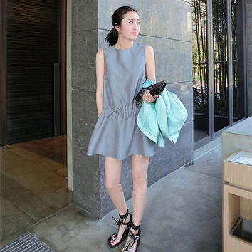 satin black dress/flared circle skirt/bridesmaid dress/short sleeveless/spring fitted pleats/summer women/midi shift dress/gray sundress