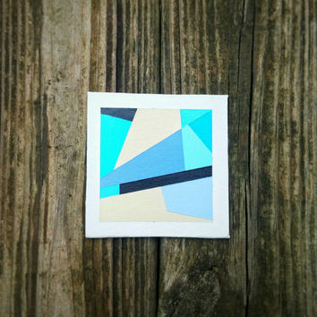 Geometric Abstract Tiny Canvas Art Contemporary Minimalist Acrylic Painting Original Abstract Home Decor OOAK