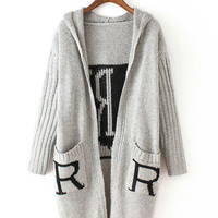 Gray Thick Hooded Letter Printed Single-Breasted Knit Cardigan