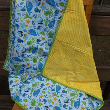 Whales, Crabs, Sailboats, Octopus, Turtles - Ocean Theme Crib Quilt - Modern Crib Quilt  - Whole Cloth Quilt