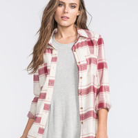 Full Tilt Two Tone Womens Flannel Shirt Cream Combo  In Sizes