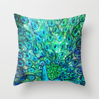Peacock Painting  Throw Pillow by EllipsisArts