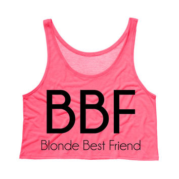 Blonde Best Friend BBF Crop Tank Top