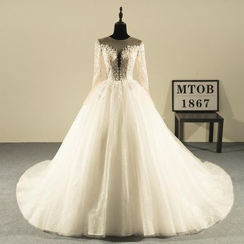 New Design Ball Gown Lace Wedding Dresses Luxury V-Neck Beaded Sexy Vintage Wedding Gowns