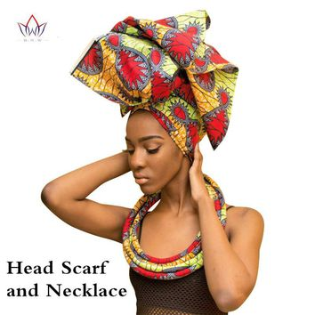 Handmade Multi-color Ankara Headwrap Scarf & Necklace