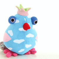 Cheerful birds bird toy blue  birds Nursery decor Stuffed Baby bird toy Soft baby gift Playful birds with Pink Crown Red mouth