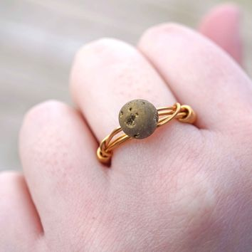 Gold Druzy Wire Wrapped Ring Aromatherapy Ring Jewelry