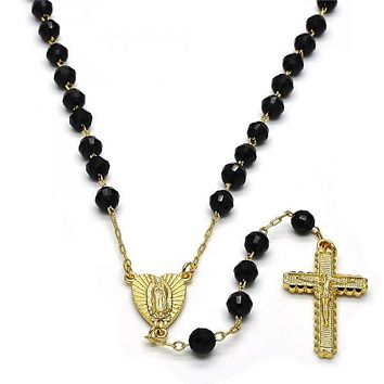 Gold Layered 09.253.0013.26 Medium Rosary, Guadalupe and Crucifix Design, with Black Azavache, Polished Finish, Gold Tone