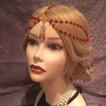 1920's RED Beaded Flapper Headpiece Head Chain Rhinestone Gatsby Costume Gold Tassel Adjustable 20's Motif Vintage Headband