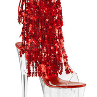 Ankle Stripper Boots With 4 Layers Of Red Sequins Fringe