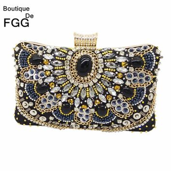 Women Black Satin Evening Clutch Bag Ladies Diamond Crystal Day Clutches Purses Female Wedding Party Bridal Handbag With Chain