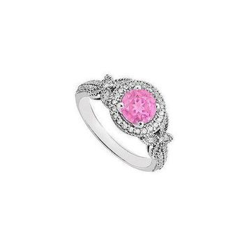 DCCKU7Q Pink Sapphire and Diamond Engagement Ring 14K White Gold  0.80 CT TGW