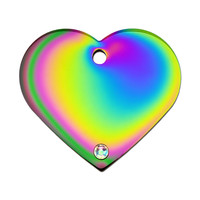 Quick-Tag Crystal Rainbow Heart Personalized Engraved Pet ID Tag