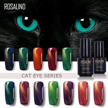 ROSALIND 3D Cat Eyes Magnet Effect Black Bottle 7ML C01-30 UV LED Gel Nail Polish With Powder Glitter Nail Art Nail Gel Polish