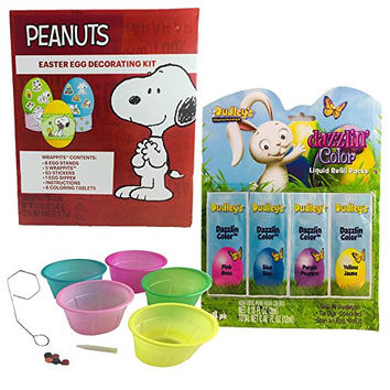 Peanuts Snoopy Easter Egg Decorating Kit with Coloring Cups and Dazzlin Liquid Egg Dye Bundle