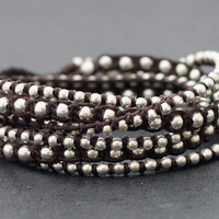 Brown Wrap Boho Rock Silver Bracelet