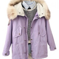Loose Fit Fur Hooded Coat with Drawstring Design