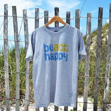 beach happy crew neck t-shirt made from recycled plastic bottles