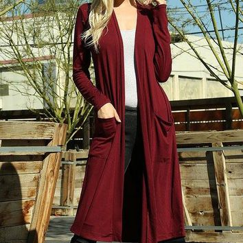 Temperatures Dropping Long Burgundy Red Cardigan Duster