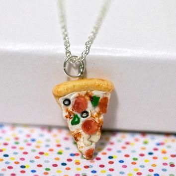 Miniature Supreme Pizza Pepperoni Green Pepper Olive Necklace with Sterling Silver Cha