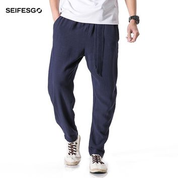 2017 Chinese Traditional Autumn New Linen Trousers Men Loose Chinos Pants Casual Kung Fu Joggers Men4XL 5XL Male Harem Pants