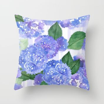 Hydrangeas and Stripes Throw Pillow by Noonday Design