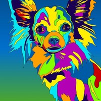 Long-haired Chihuahua Dog Breed Matted Prints & Canvas Giclées