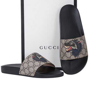 Gucci Fashion Casual Women Print Sandal Slipper Shoes Grey G