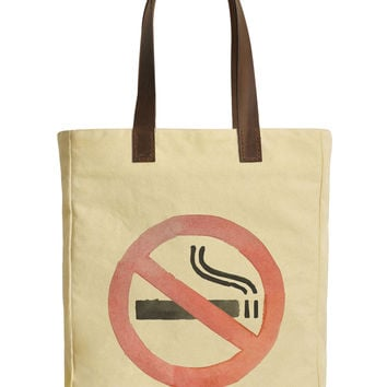 No Smoking Sign Beige Printed Canvas Tote Bags Leather Handles WAS_30