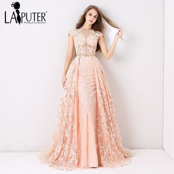 Laiputer 2018 Pearl Pink Luxury Lace Appliques Full Beading Crystal Amazing Arabic Vintage Sexy Formal Long Evening Prom Dresses