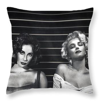 Elizabeth Taylor And Marilyn Monroe Rivals Art Iphone 6 Plus Cover Case 2015 Throw Pillow