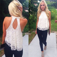 Fashion Women Sexy Casual Sleeveless Hollow Lace Halter Vest Blouse Loose Shirt Tops