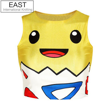 21 Styles Harajuku 2015 fashion women summer crop top 3D graphic print cartoon pokemon pikachu cute cropped tank tops for ladies