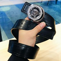 Versace New fashion human head buckle leather belt Black