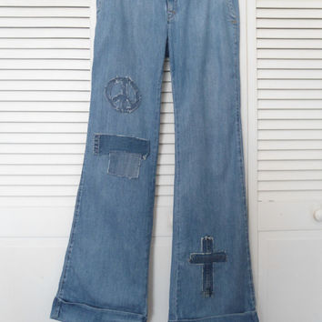 Size 10L Womens Redesigned Bell Bottom Blue Jeans upcycled refashioned hippie boho bohemian gypsy cowgirl glam clothes bellbottoms patched