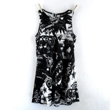 Vintage 90s Dress Small // 90s Dress Grunge Black and White Graffiti Print Cyberpunk Club Kid Raver // 90s Dress Mini Soft Grunge Goth