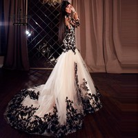Sexy See Through Long Sleeve Lace Mermaid Evening Dresses Red Sweep Train Long Formal Dress Party Arabic Robe De Soiree