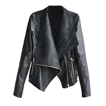 Woman Winter Coats And Jackets 2017 New Arrival Euro Style Casual Zipper PU Leather Jacket 4XL Bomber Jacket