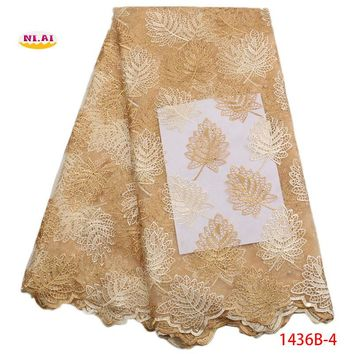 Latest Gold French Tulle Lace Fabric With Stone Nigerian Mesh Lace