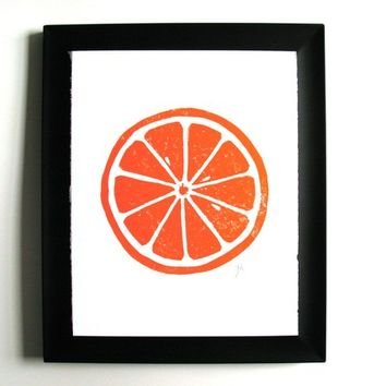 LINOCUT PRINT - Orange letterpress poster - citrus fruit 8x10