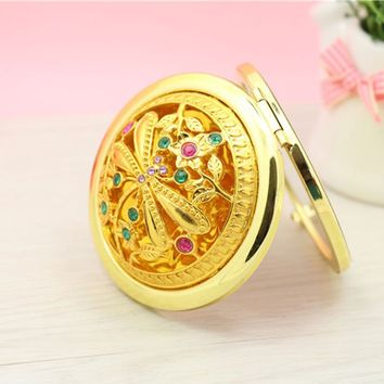 Vintage Pocket Mirror Gift Portable Compact Folding Tools Small Mirror Makeup Cosmetic Double Faced