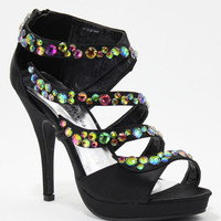 Black Satin & Multi-Color Stone Janna Platform Sandals