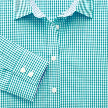 Green preppy gingham semi-fitted shirt | Women's shirts from Charles Tyrwhitt | CTShirts.com