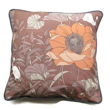 "Mid 70s vintage, Sanderson ""Kalao"" herons and exotic flowers, peach, lilac cotton cushion, throw pillow, homeware decor 18 x 18 ins."
