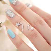Rhinestone Flower Spiral Pentagram Ring