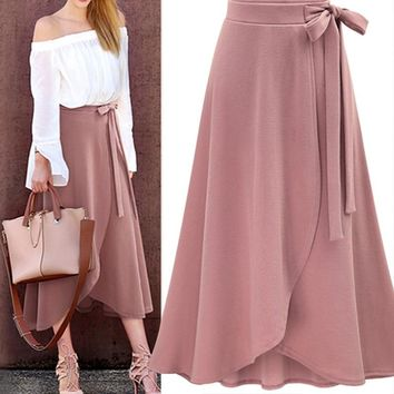 Chiffon Pink Ruffle Women's Long Skirt High Waist Bowtie Split Irregular Maxi Skirts Womens Spring Summer Office Clothes Women