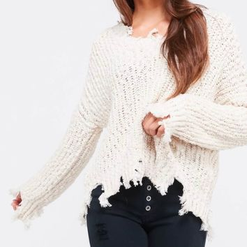 Distressed Hem Popcorn Yarn Knit V-Neck Sweater - Natural