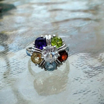 Vintage Sterling Silver 925 Multi-colored Gemstone Flower Ring Size 7 - Garnet, Topaz, Citrine, Amythest, Peridot
