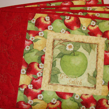 Apple Placemats Set of 4 Red Green and Yellow Apples