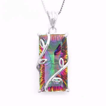 .925 Solid Silver Mystic Topaz Pendant Necklace